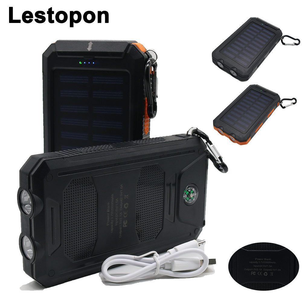 Lestoponポータブルソーラー電源銀行外部バッテリーデュアルusbポートpowerbank充電器携帯充電器のため