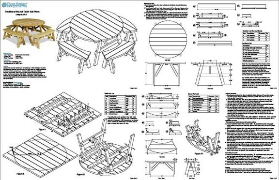 picnic table plans with 8 solo seats | Round Picnic Table ...