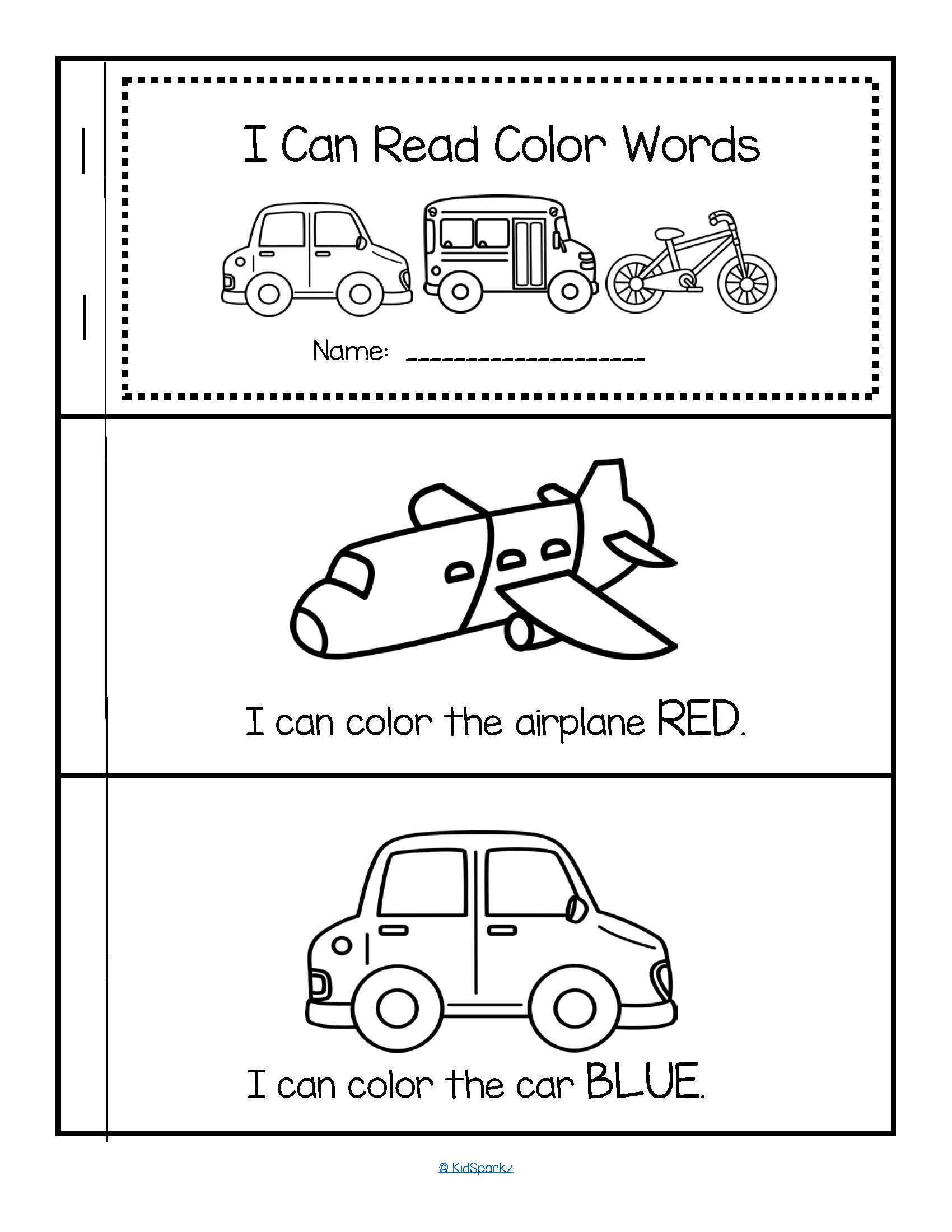 Color Words Predictable Emergent Reader Free