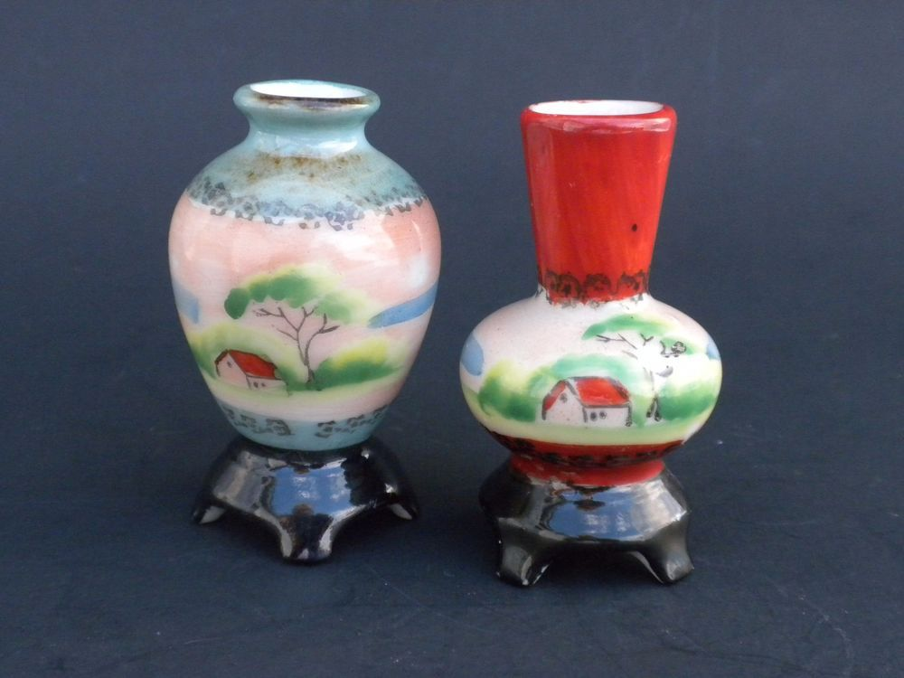 Miniature Vases H Kato Made In Occupied Japan Small Vintage Japanese Vases Quot Glass Amp Pottery