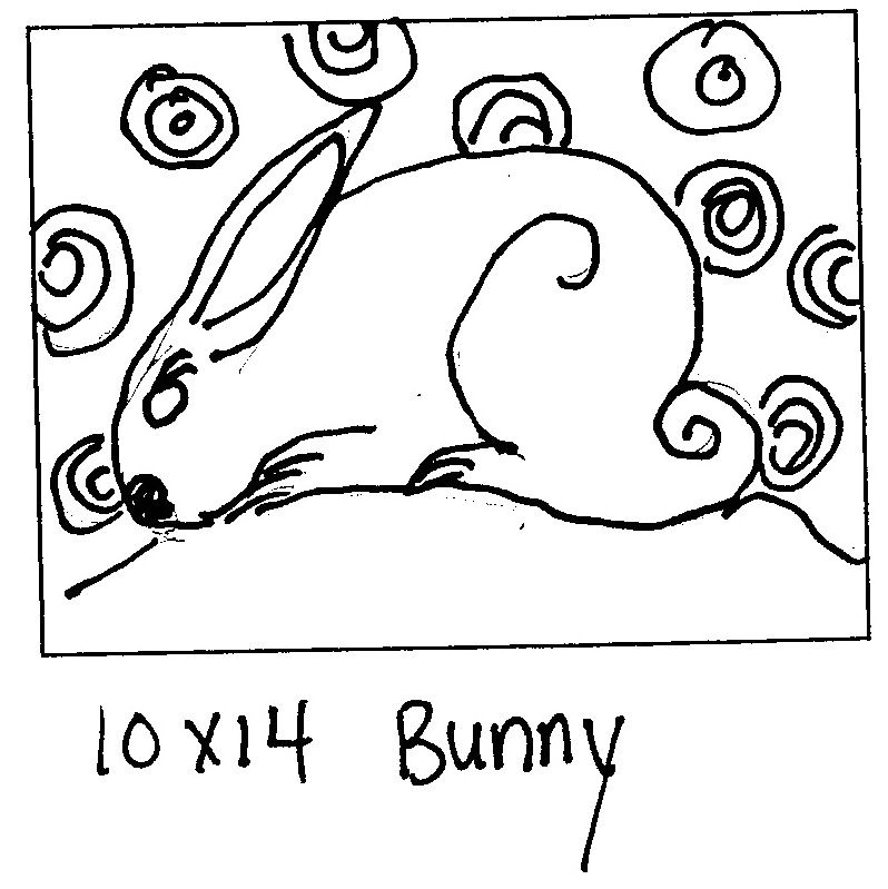 Bunny 10 by 14 rug hooking patterns rug hooking pattern