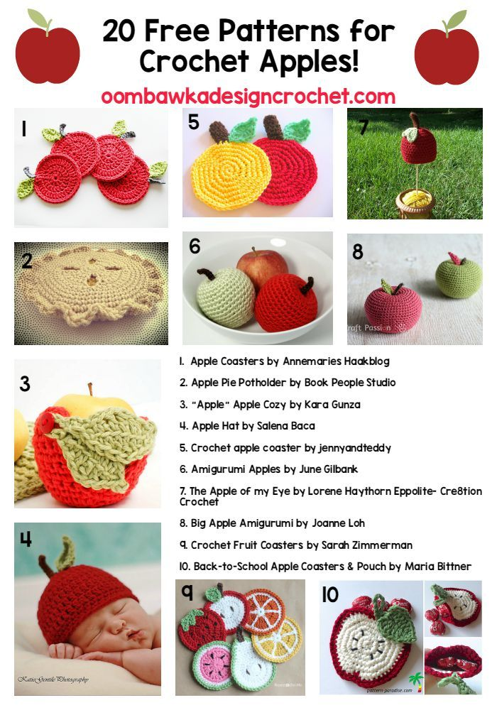 20 Free Patterns for Crochet Apples | Free Pattern Friday | crochet ...
