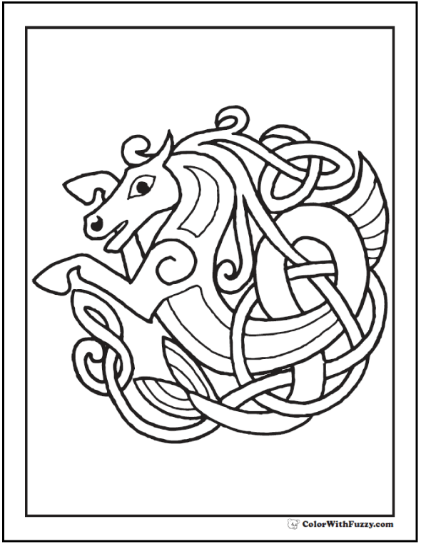 Celtic Horse Coloring Page: Rampant Horse