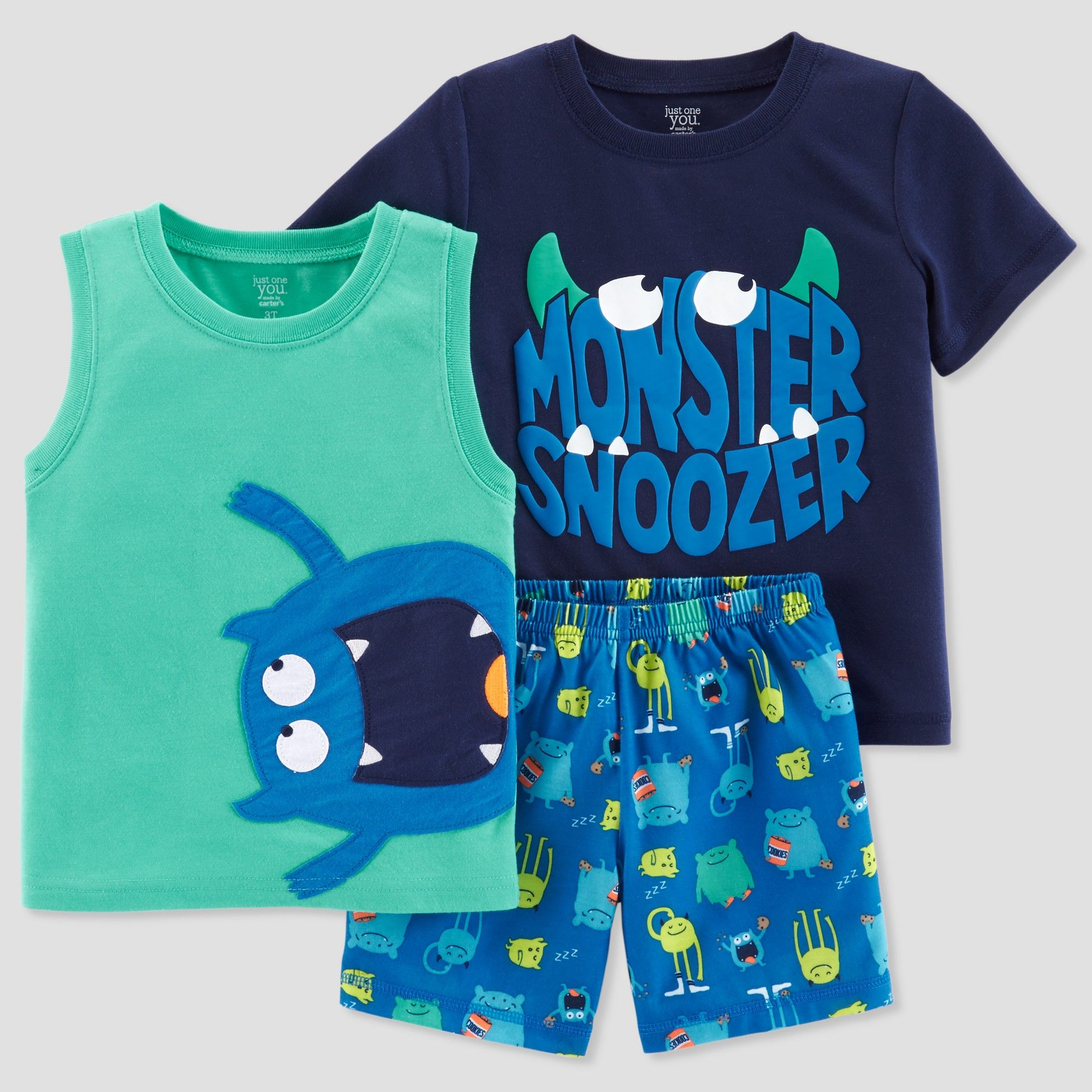 1efa71e97 Toddler Boys  3pc Monster Snoozer Pajama Set - Just One You made by ...