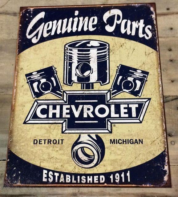 """Garage Decor Signs 16"""" X 125"""" Genuine Parts Chevrolet Tin Wall Sign  Mancave Garage"""