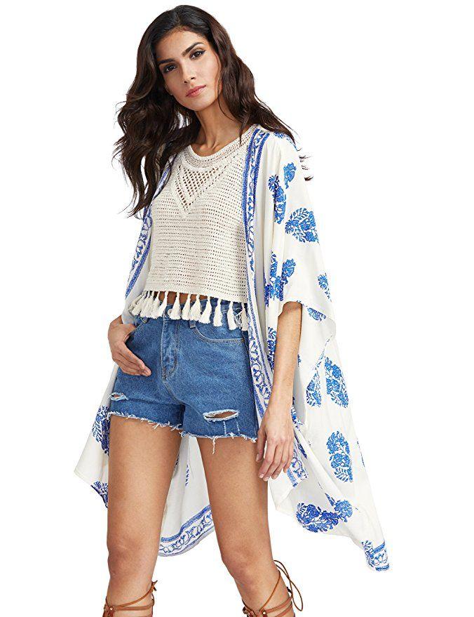 3d5de5ec9e44c SweatyRocks Women Kimono Vintage Floral Beach Cover up at Amazon Women's  Clothing store: