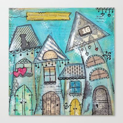 Welcome to our Home Stretched Canvas by Monica Mota -