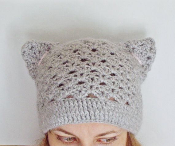 Pdf Pattern Step By Step Tutorial Crochet Hat With Cat Ears Lace Beanie Smart Casual Hat Spring Autumn Hat Mother Crochet Hats Crochet Cat Crochet Cat Hat