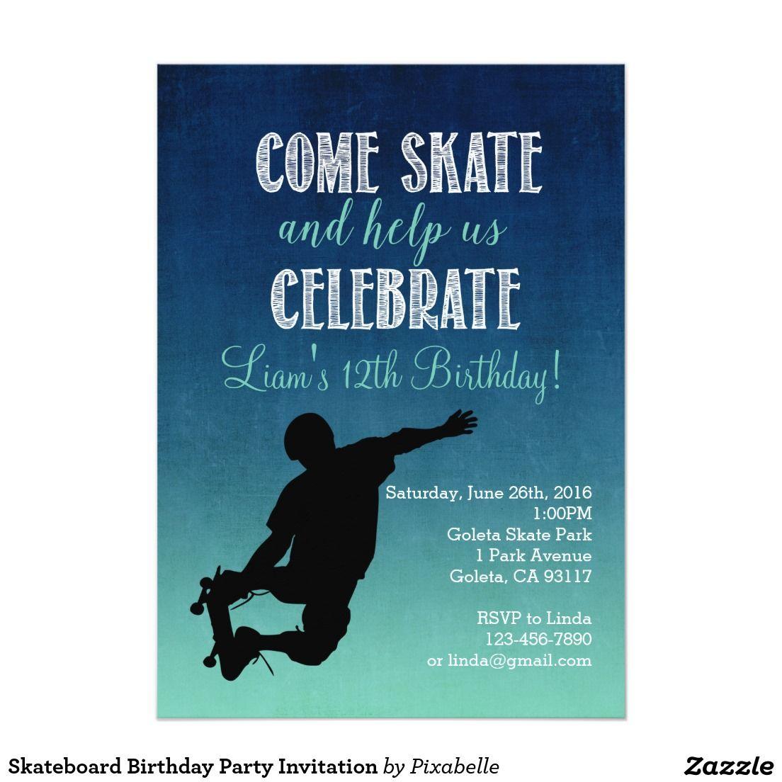 Skateboard Birthday Party Invitation | Skateboard party ...