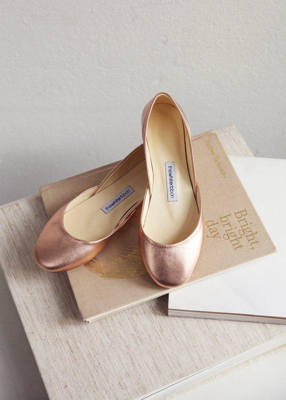 b515c1307628 Metallic Rose Gold Ballet Flats