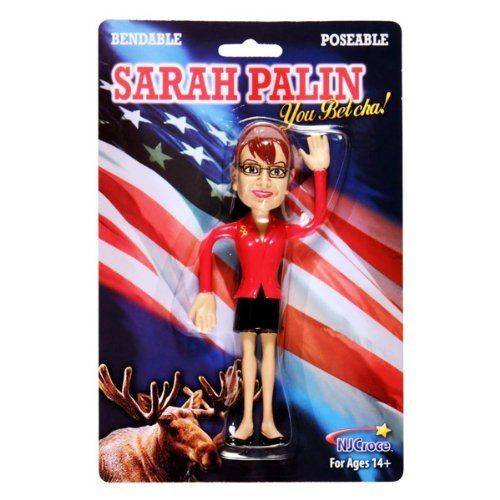 "Sarah Palin Posebale Figure by NJ Croce Co, Inc.. $7.02. Bendable Sarah Palin Action Figure. You Betcha! This Sarah Palin Bendable Action Figure features her unmistakable glasses, hairdo and suit. She's bendable, poseable and ready to travel with you. Sarah is finally available to appear at your next event or tea party. No matter which side of the aisle you're on, this will make a perfect addition to your collection. Ages 14+ 6"" tall"