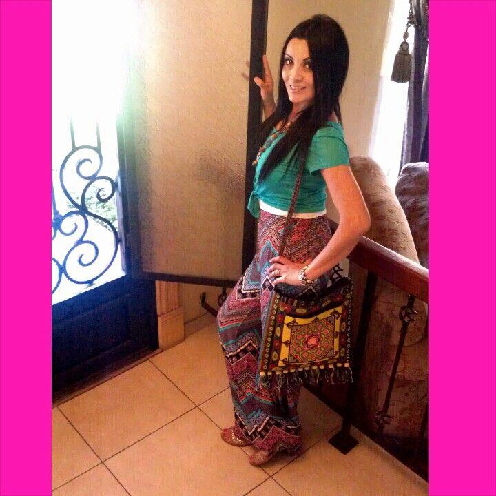 Gypsy pants & my  woven handbag