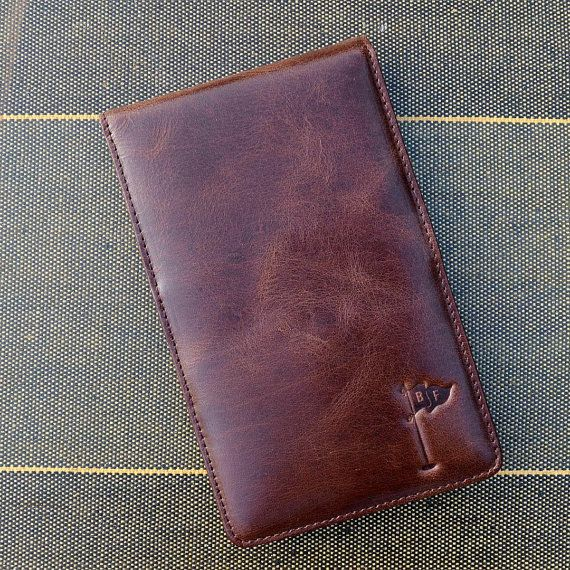 Handmade Leather Golf Scorecard Holder Yardage Book