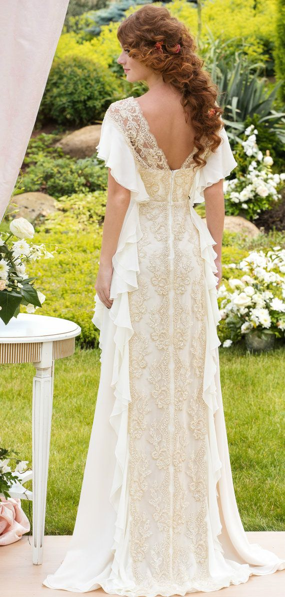 Wedding Dress Designer Aristocratic gown from shiffon and Italian lace Made to your order on Etsy, £493.64