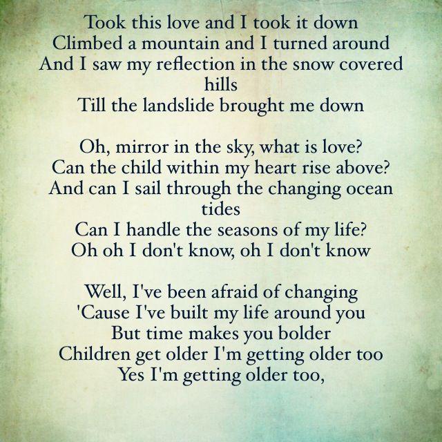 Image Result For Landslide Lyrics