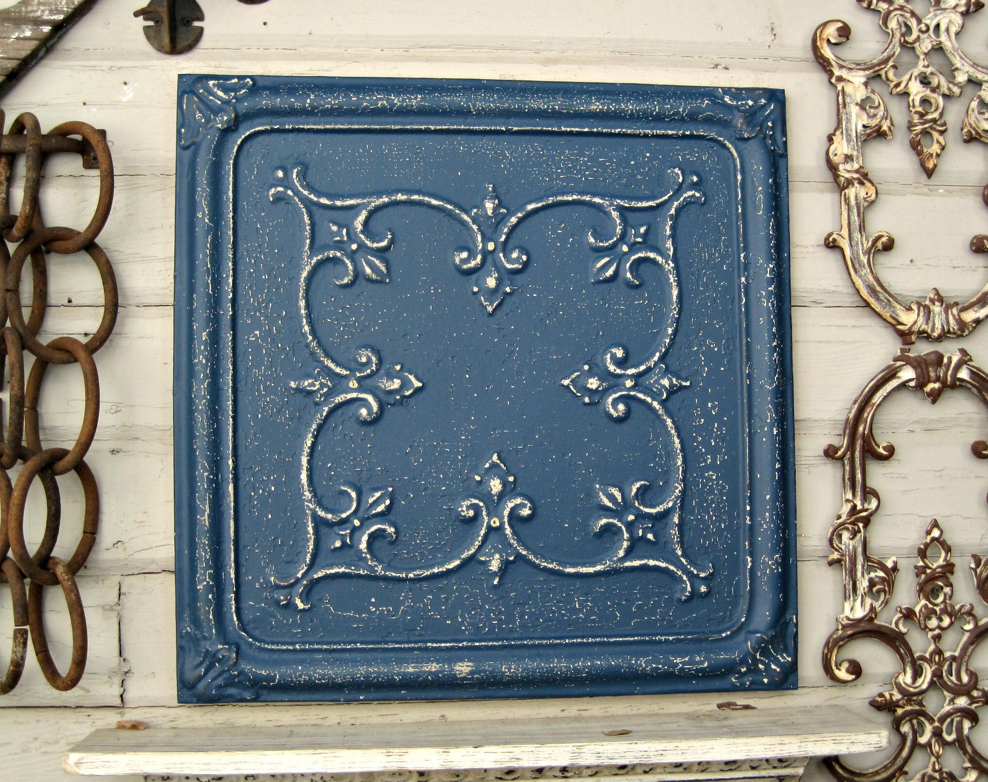 Tin Ceiling Tile FRAMED & ready to hang. Architectural salvage ...