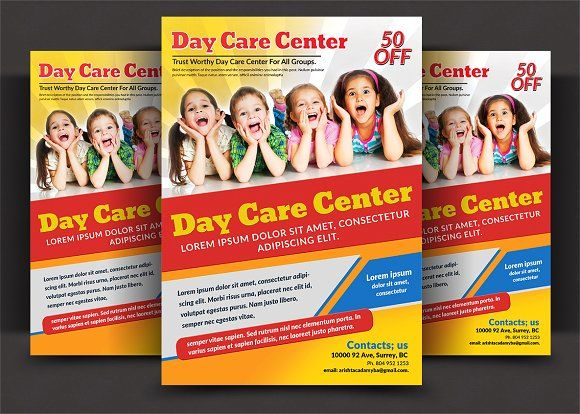 Daycare Flyer Templates by AfzaalGraphics on @creativemarket - daycare flyer template