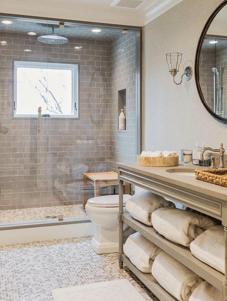 Custom Bathroom Using Ice Grey Gl Subway Tile Shower