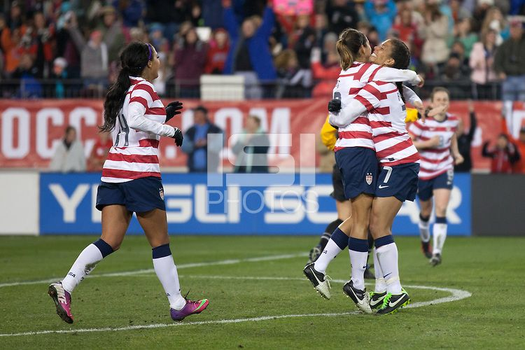 Christen Press goal celebration with the assist from Shannon