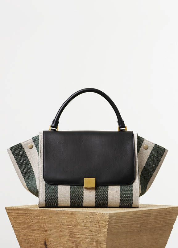 SMALL TRAPEZE BAG IN TEXTILE WITH NATURAL AND GREEN STRIPES 27 X 22 X 13 CM  (11 X 9 X 5 IN) LINEN cf0beb2317741
