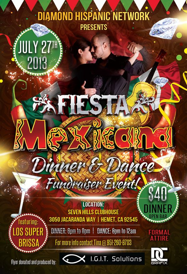 Diamond Hispanic Network Fiesta Mexicana Dinner and Dance Fundraiser Event  flyer | Mexico lindo, Mexicano