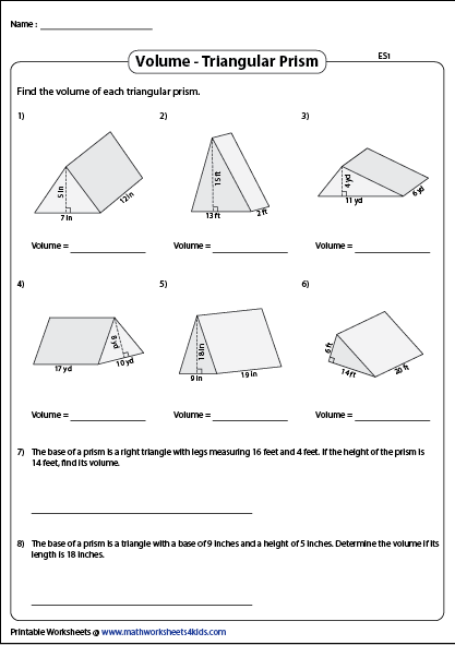 Volume Of A Triangular Prism Printable Worksheets Triangular Prism Volume Worksheets Geometry Worksheets