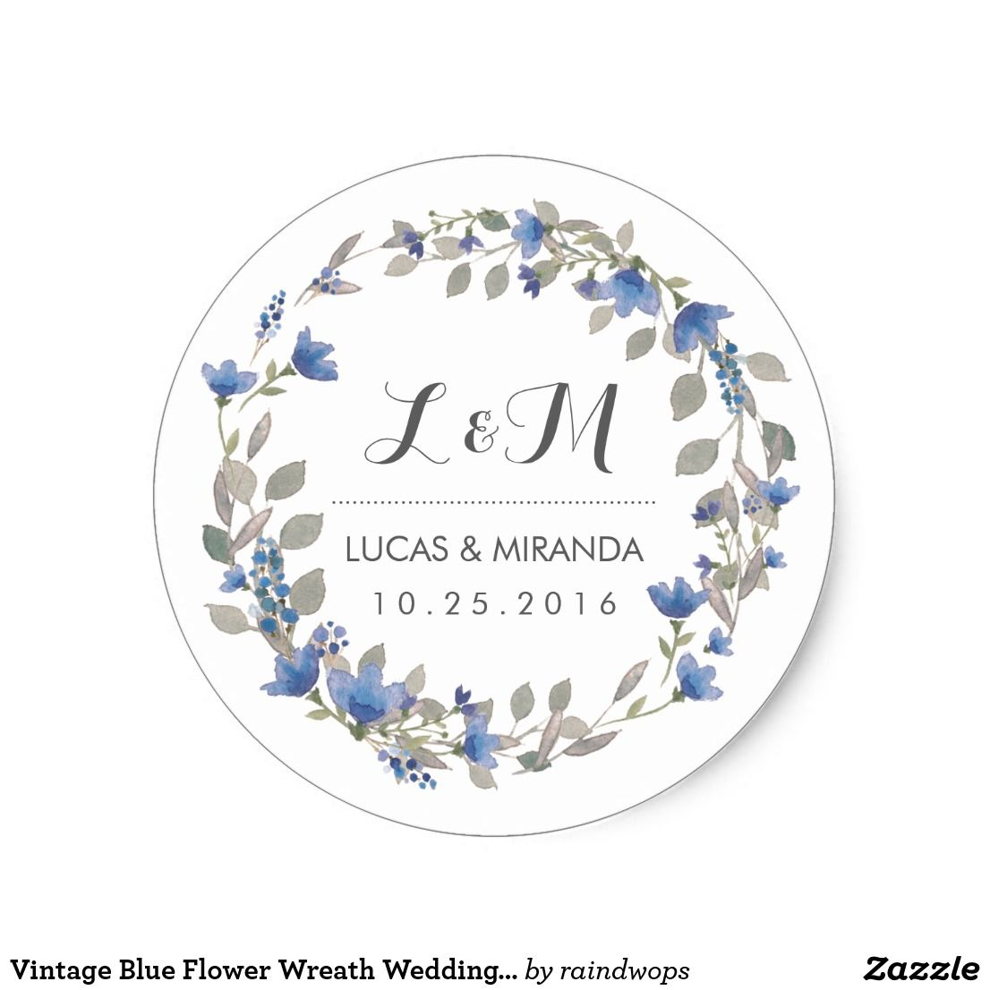 Vintage Blue Flower Wreath Wedding Favor Sticker | Invitation ...