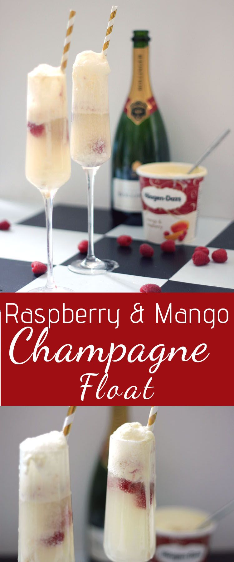 Champagne Float Cocktail With Mango And Raspberries Champagne Float Food Cocktails