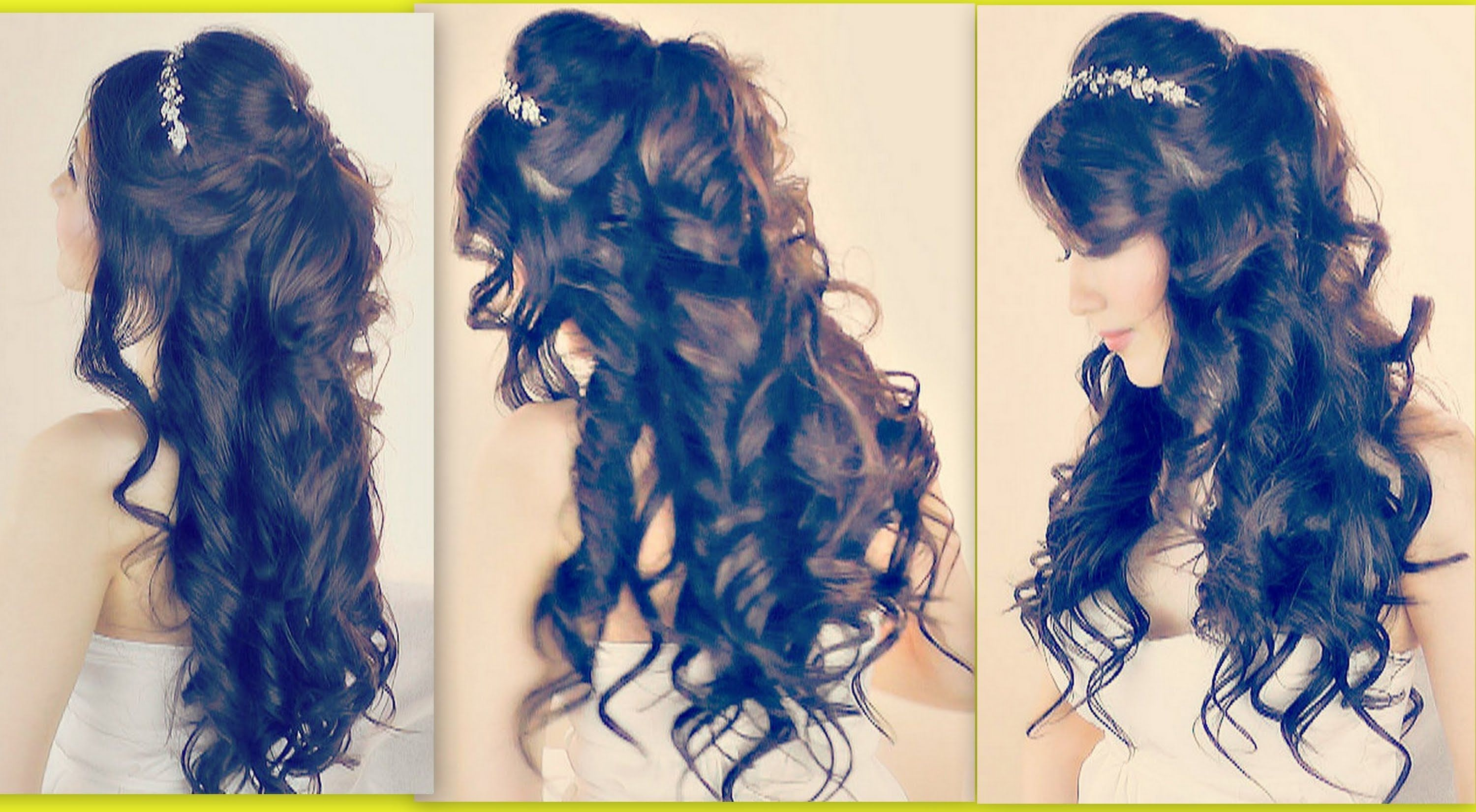 ☆LUSH CURLY HAIRSTYLES EASY FORMAL HALF UP UPDO FOR PROM WEDDING