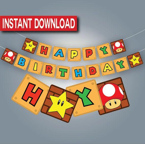 Super Mario Birthday Banner Instant Download Printable Digital Files Mario Bros 誕生日 マリオ 子育て