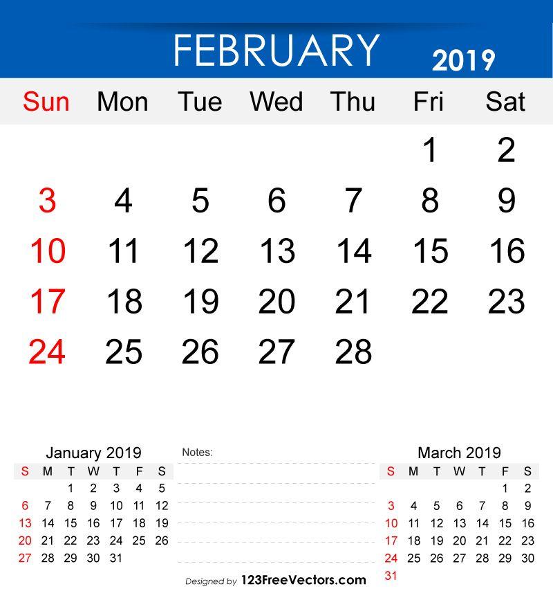 Free Printable February 2019 Calendar in 2018 2019 Calendar