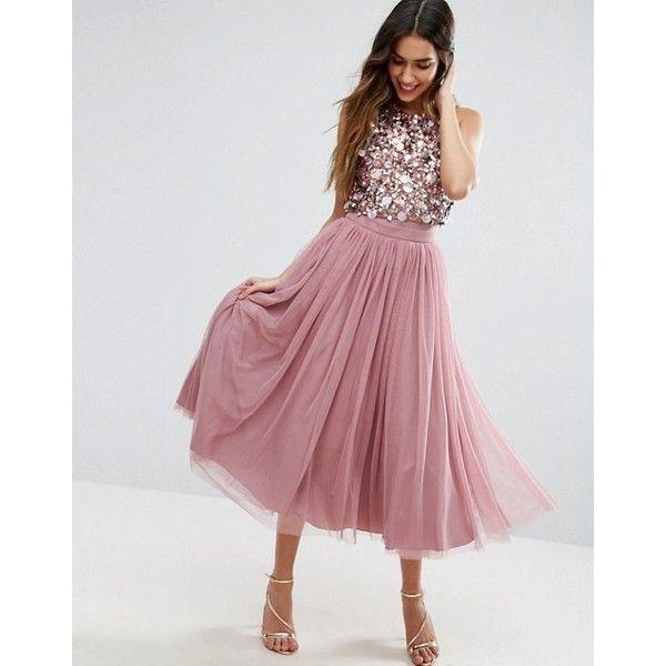 ASOS Cluster Embellished Mesh Crop Top Midi Dress (€120) ❤ liked on ...
