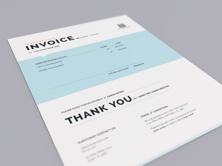 Two Lands Creative Invoice Pinterest Brand packaging, Book - graphic design invoice sample