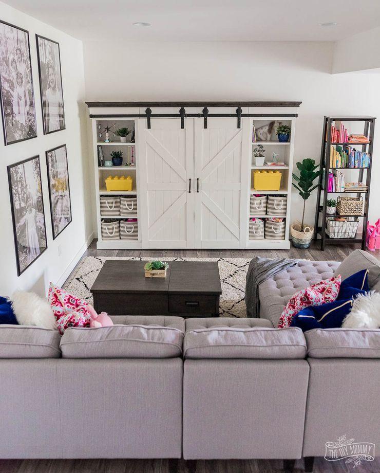 Modern Farmhouse Basement Play Tv Room Makeover The Diy Mommy