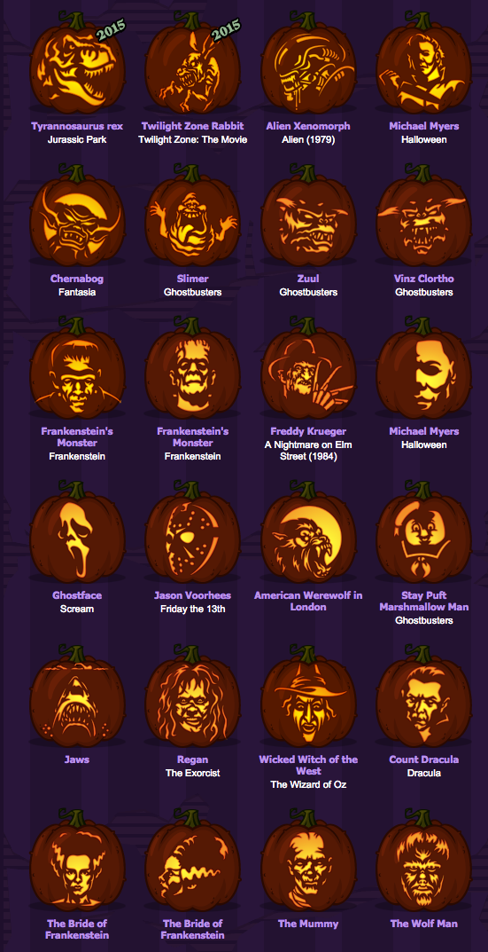halloween movie pumpkin template  Movie Monster Pumpkins in 6 | Halloween pumpkin carving ...