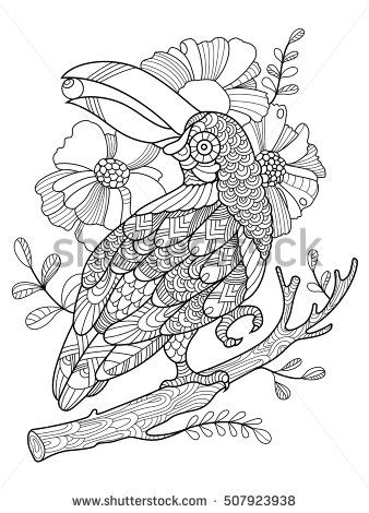 Toucan bird coloring book for adults vector illustration anti stress coloring for adult tattoo - Coloriage toucan a imprimer ...