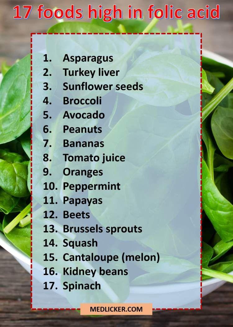 What foods contain folic acid list 49