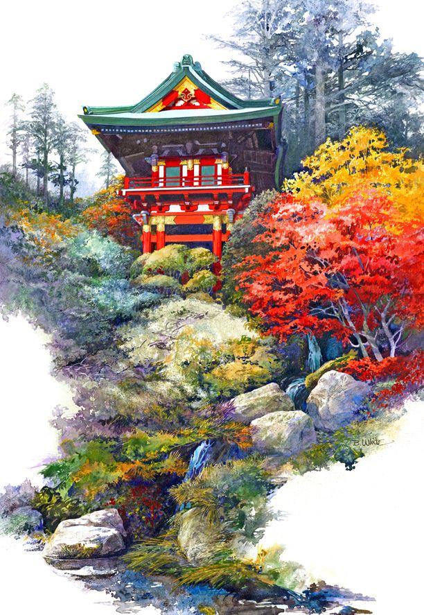 Japanese Tea Garden Painting Image Temple Gate Watercolor 400 x 300