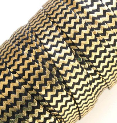 "5/8"" Black & Gold Chevron FOE"