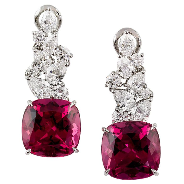 Chic and impressive platinum set rubellite and diamond earrings by Tiffany & Co.