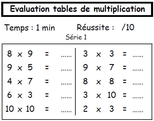 Contr le hebdomadaire des tables de multplication ecole - Exercice table de multiplication cm1 ...