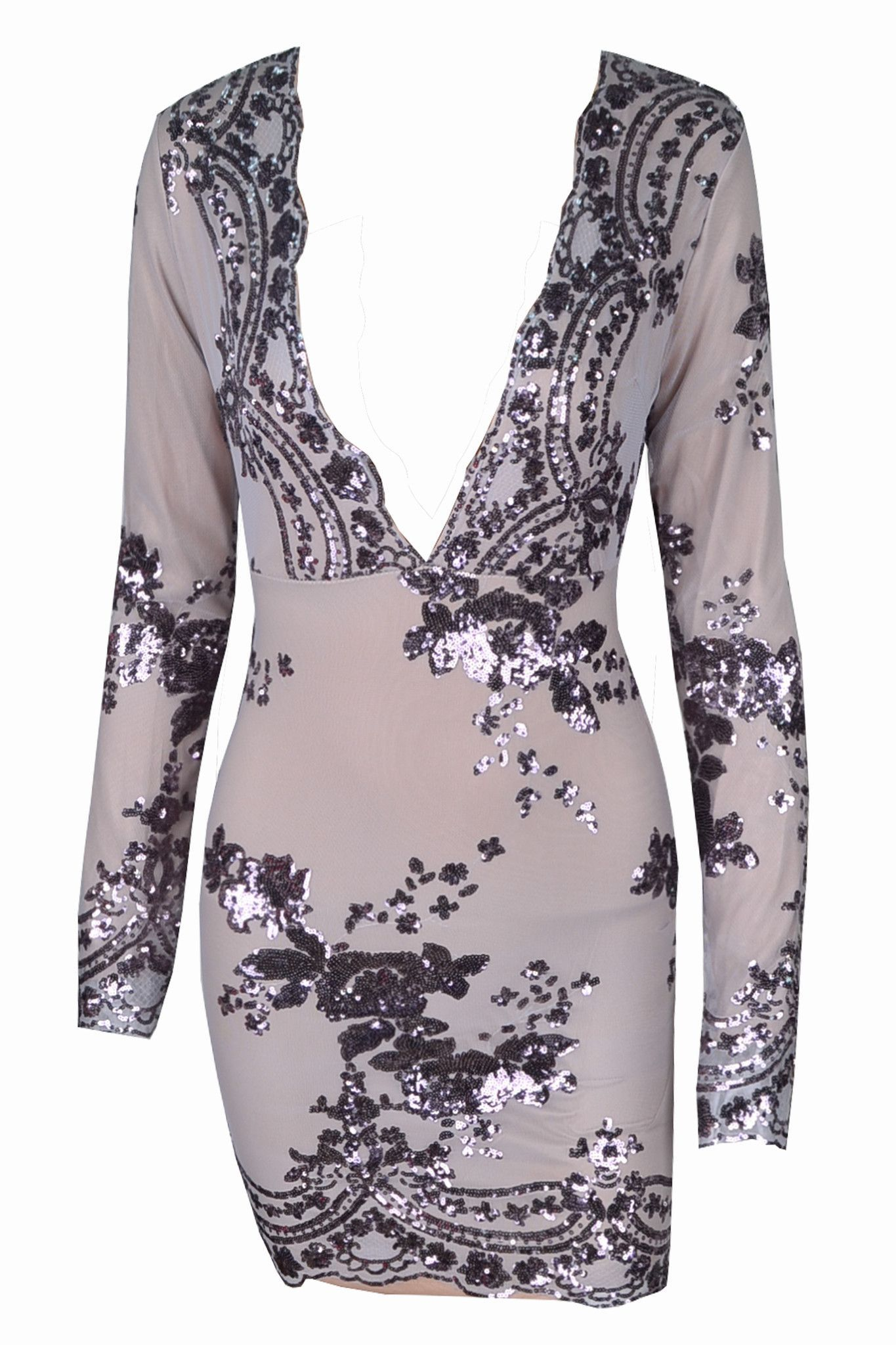 Silver Decor Party Dress