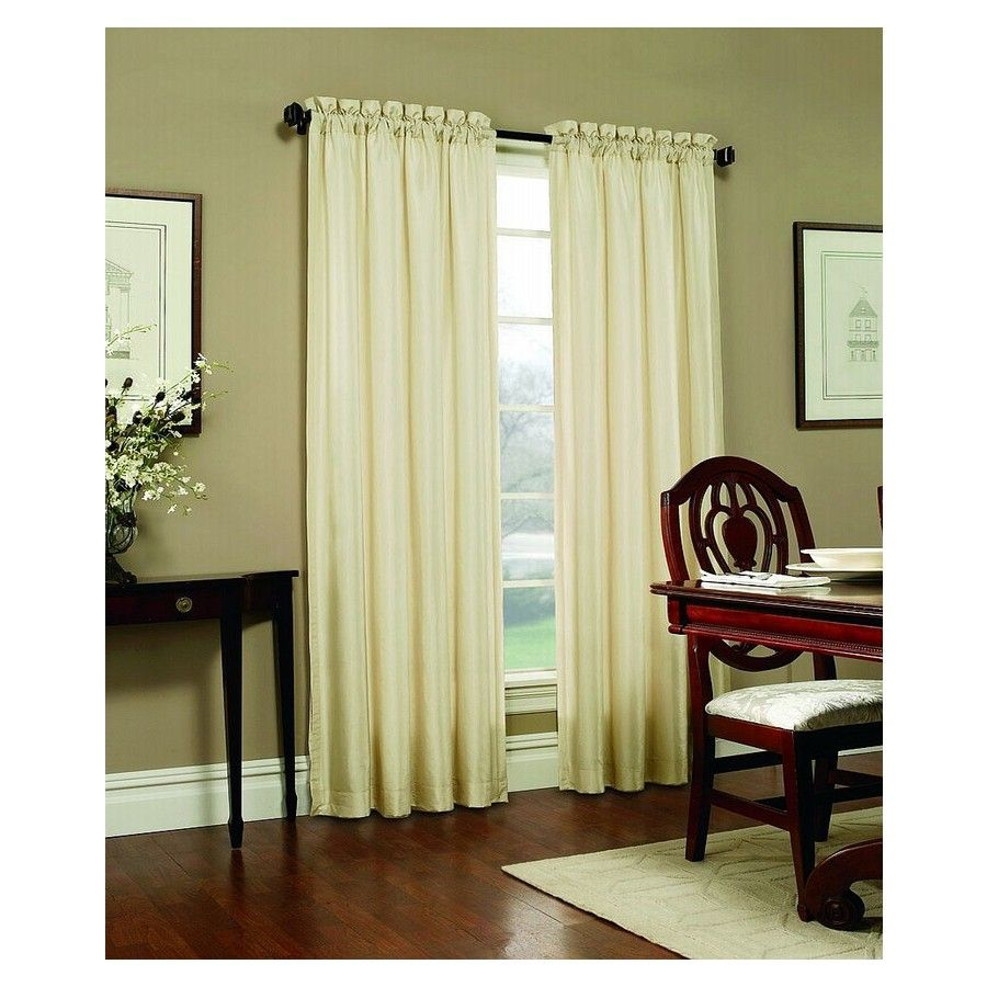 Shop allen roth 95in l ivory columbia curtain panel at