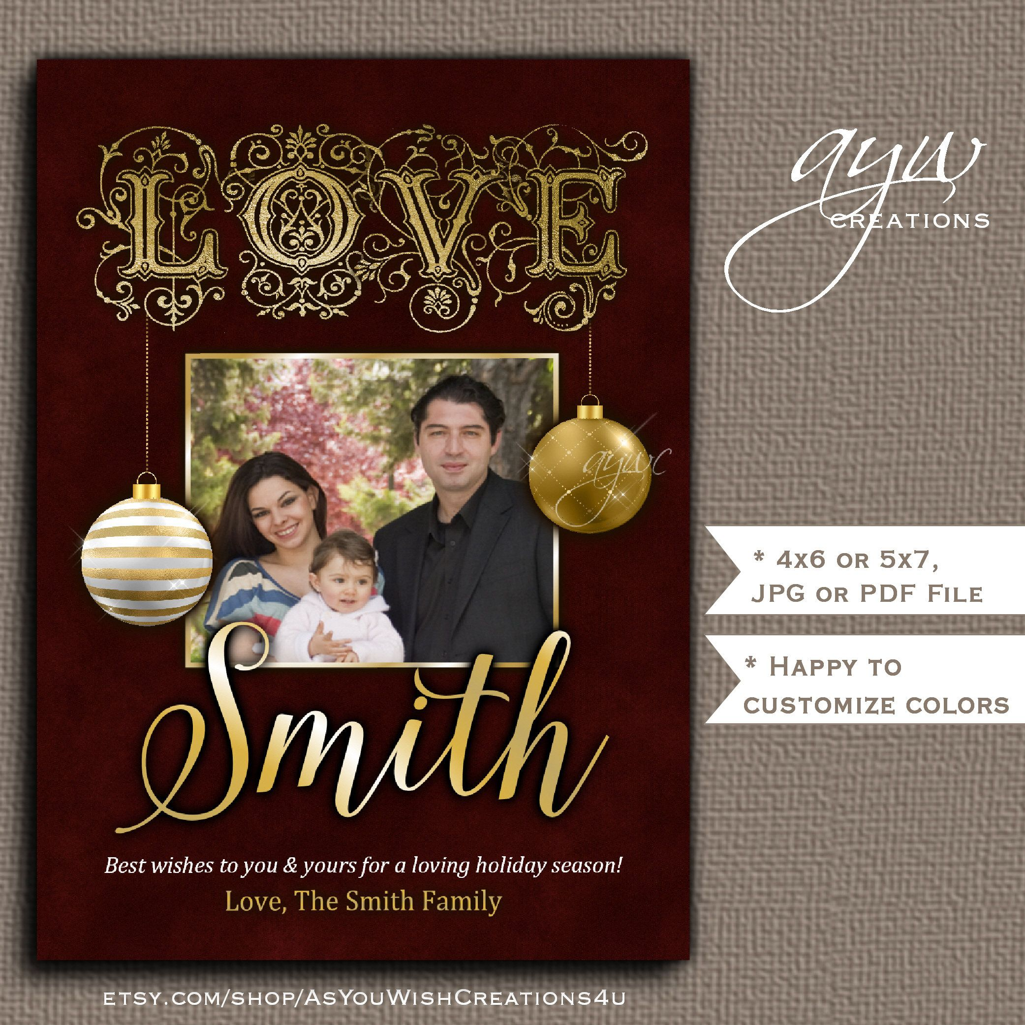 LOVE Christmas Card Printable with Ornaments and Family