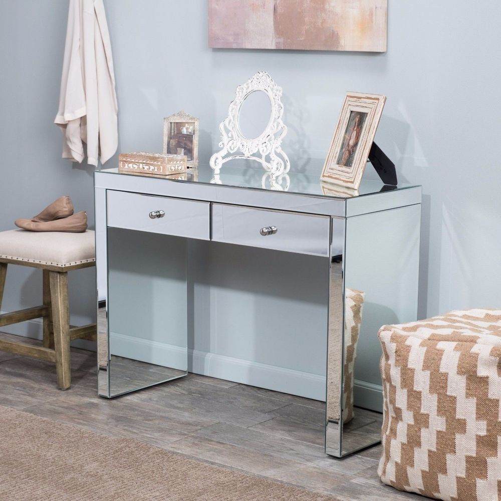 Details about Mirrored Dressing Table Contemporary Console Desk