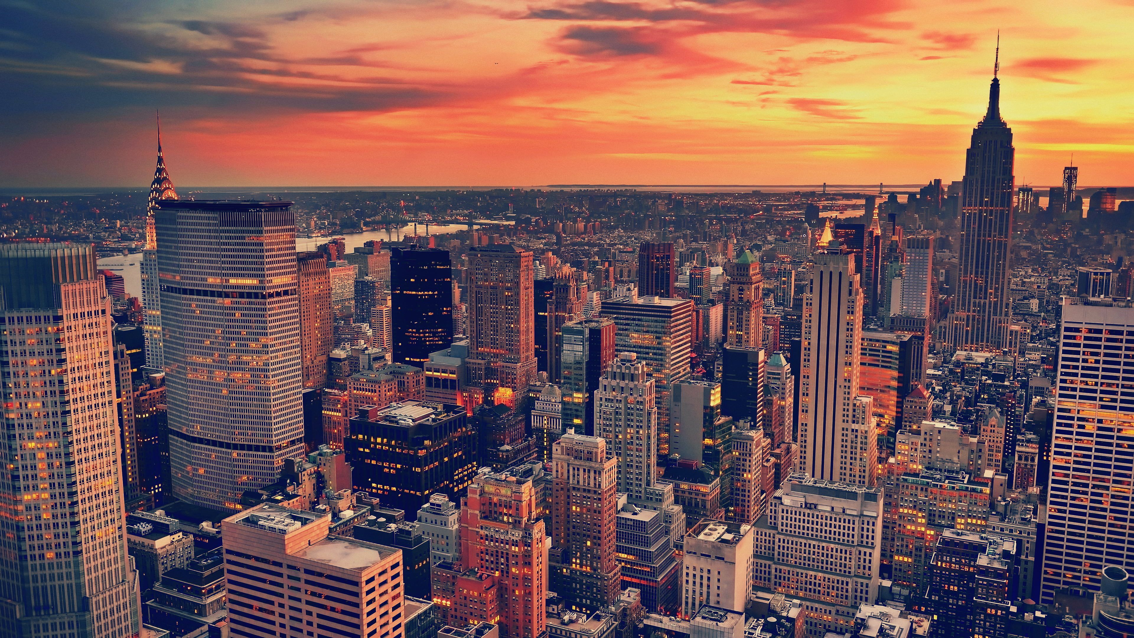 Aerial View Photography New York City Building Cityscape New York City Sunset 4k Wallpaper Hdwallpaper New York City Buildings Sunset City City Wallpaper