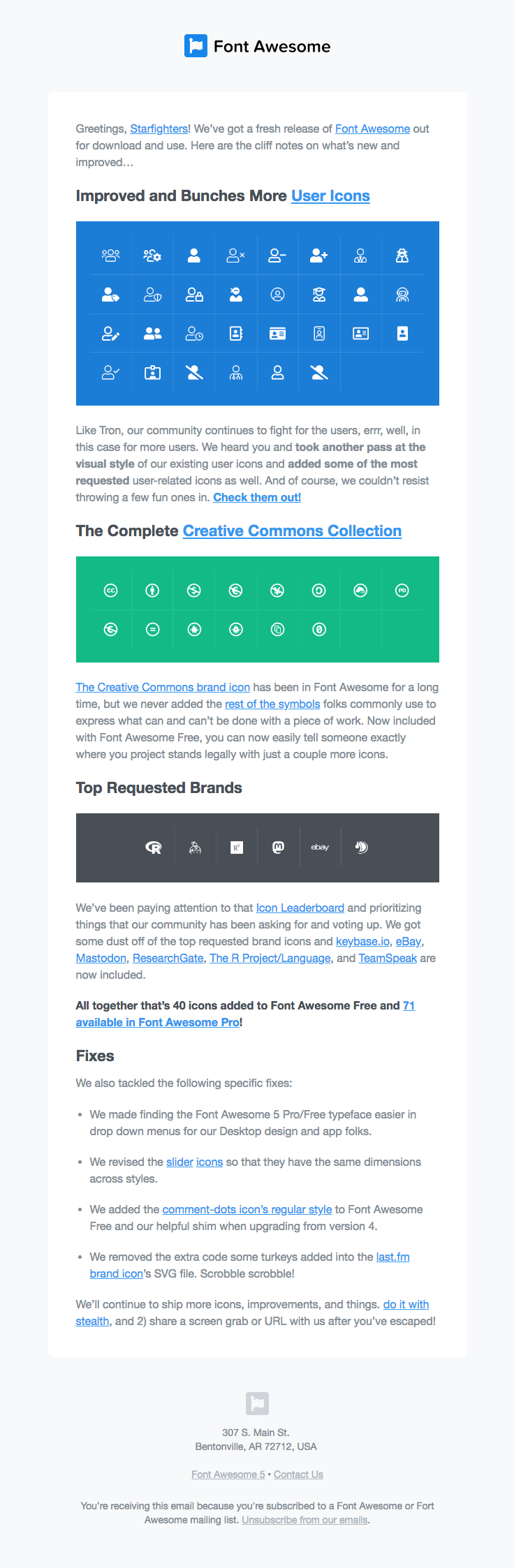 Font Awesome sent this email with the subject line What's