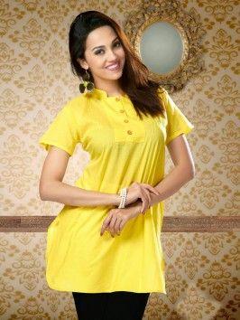 Yellow Pure Cotton Kurti