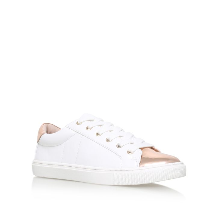 Jacko White Flat Low Top Trainers By