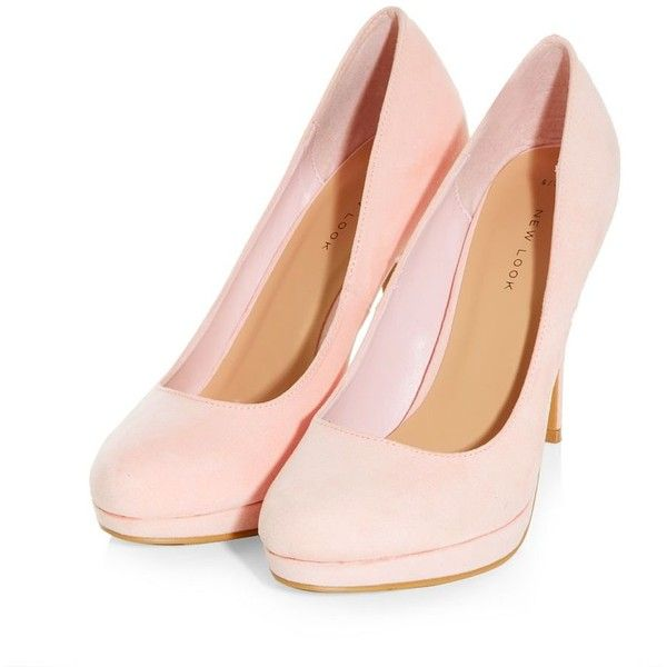 6d2d8d4790cb Light Pink Suedette Court Shoes ( 26) ❤ liked on Polyvore featuring shoes